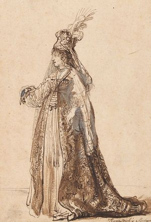 Rembrandt-Actress-on-stage-c1638-drawing-Morgan-c