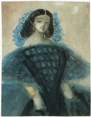 Guys-Constantin-Young-Woman-Blue-&-Black-Dress-c1863-Met