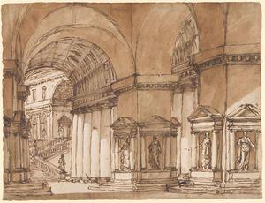 Barberi-Giuseppe-Hall-of-Roman-Palace-c1780-90-drawing-Morgan