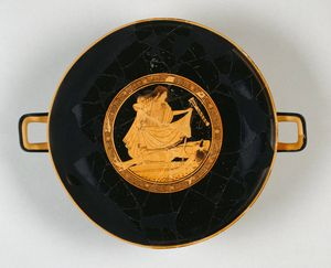 Greek-Attic-kylix-Ajax-suicide-with-Tekmessa-c490-BC-Getty