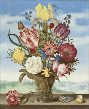 Bosschaert-Ambrosius-Bouquet-of-Flowers-on-Ledge-1619-oil-on-copper-LACMA-Dutch