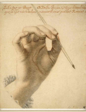 Dumonstier-Pierre-Right-hand-of-Artemisia-Gentileschi-holding-a-brush-Rome-1625-drawing-British-Museum-c