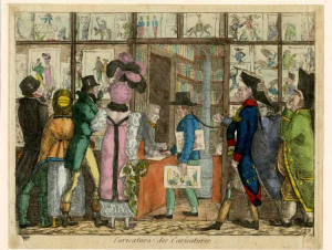 Forceval-Crowd-buying-caricatures-of-themselves-Print-shop-Paris-1814-hand-colored-etching-British-Museum