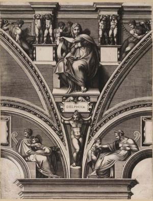Ghisi-Giorgio-after-Michelangelo-Sistine-Ceiling-Delphic-Sibyl-1549-engraving-Teylers-Museum-Haarlem