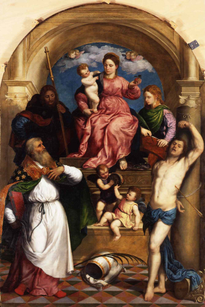 Bordone-Paris-Madonna-and-Child-enthroned-with-Saints-c1530-oil-on-panel-Gemäldegalerie -Berlin
