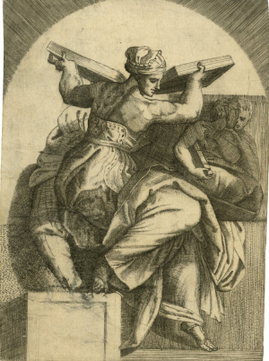 Italy-engraving-Libyan-Sibyl-Sistine-Ceiling-after-Michelangelo-c1550-80-British-Museum