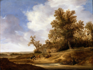 Van-Moscher-Jakob-Road-near-Cottages-before-1655-oil-on-panel-Dulwich-Picture-Gallery-London