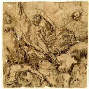 Italy-drawing-Fall-of-Giants-with-Jupiter-on-eagle-16th-century-British-Museum-square