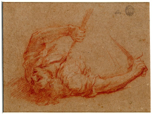 Cortese-Guglielmo-Solder-on-ground-with-spear-in-chest-before-1679-drawing-British-Museum