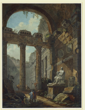 Clérisseau-Charles-Louis-and-Antonio-Zucchi-(figures)-Ruins-sketched-and-admired-by-gentlemen-before-1795-bodycolour-British-Museum