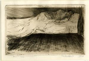 Bone-Muirhead-Dawn-(James-Bone-asleep-in-bed)-1901-etching-British-Museum