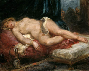 Delacroix-Eugène-Odalisque-reclining-on-a-divan-c1825-oil-on-canvas-Fitzwilliam-Museum-Cambridge