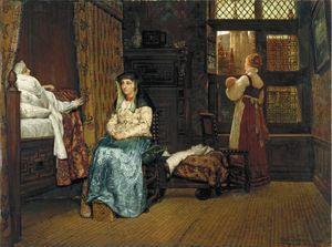 Alma-Tadema-The-Visit-Dutch-Interior-1868-V&A