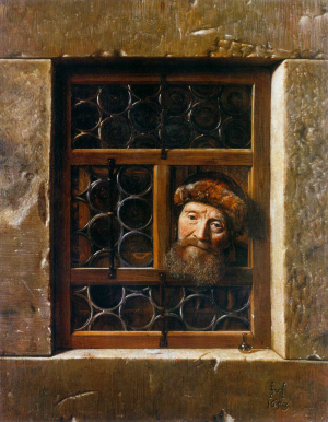 Hoogstraten-Samuel-van-Man-looking-through-a-window-1653-canvas-Kunsthistorisches-Museum-Vienna-Dutch