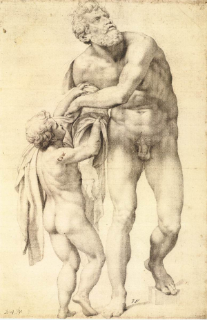 Daniele-da-Volterra-Aeneas-with-Boy-c1553-56-drawing-Graphische-Sammlung-Albertina-Vienna