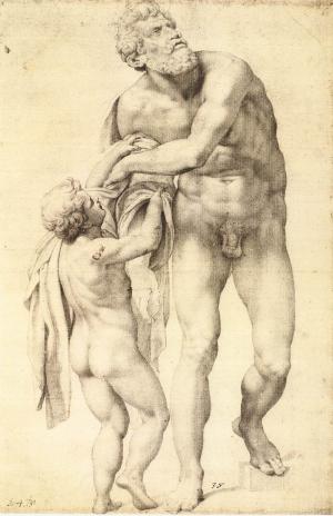 Daniele-da-Volterra-Aeneas-with-Boy-c1553-56-drawing-Graphische-Sammlung-Albertina-Vienna