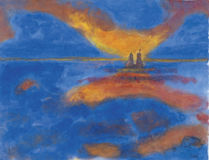 Nolde-Emil-Red-Clouds-probable-1930s-watercolor-Museo-Thyssen-Bornemisza