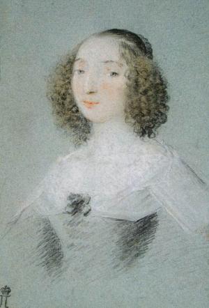 Mellan-Claude-Portrait-of-Henriette-Marie-de-Buade-Frontenac-1641-pastel-Hermitage-French