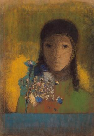 Redon-Odilon-Woman-with-Wildflowers-1890s-pastel-Hermitage