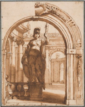 Colonna-Angelo-Michele-Statue-of-Minerva-with-classical-architecture-before-1687-drawing-Prado