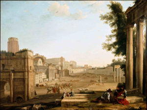 Claude-Lorrain-follower-Campo-Vaccino-Rome-1640s-oil-on-canvas-Dulwich-Picture-Gallery-London