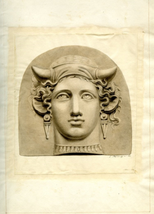 Stephanoff-James-attributed-Mould-made-terracotta-antefix-in-the-form-of-the-Head-of-Io-1804-wash-drawing-Townley-Collection-British-Museum