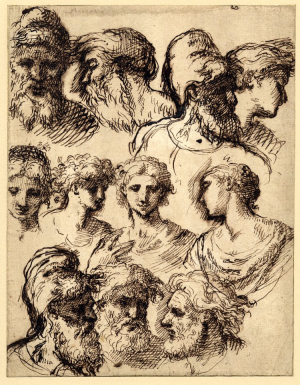 Jones-Inigo-Eleven-studies-of-heads-before-1652-drawing-British-Museum