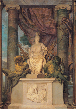 San-Michele-Manufactory-Rome-Statue-of-Goddess-Roma-with-Weeping-Dacia-relief-below-17th-century-tapestry-Pinacoteca-Capitolina-Rome