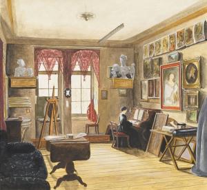 Streckfuss-Karl-Wilhelm-Artist's-Studio-in-Berlin-1860s-watercolor-Cooper-Hewitt-Smithsonian-Design-Museum-Thaw