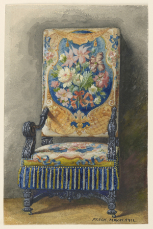 Interior-Marschall-Frederick-Carved-Side-Chair-with-Needlepoint-Upholstery-c1885-watercolor-Cooper-Hewitt-Smithsonian-Design-Museum