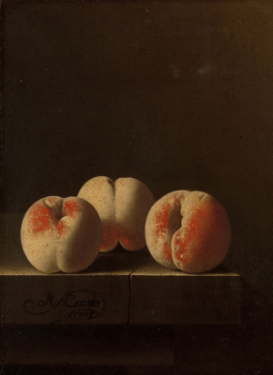 Coorte-Adriaen-Three-peaches-on-a-stone-plinth-1705-oil-on-paper-mounted-on-panel-Rijksmuseum-c