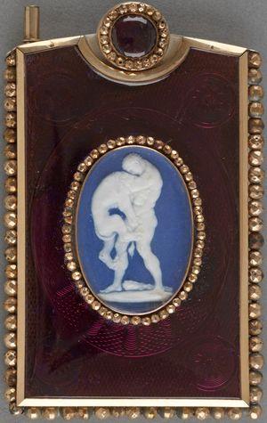 Carnet-de-bal-Enamel-Gold-Jasperware-Plaque-Hercules