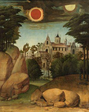 Picardo-León-Landscape-with-Buildings-c1500-35-Prado