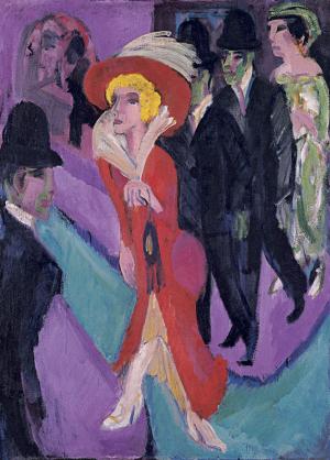 Kirchner-Ernst-Ludwig-Street-with-Red-Streetwalker-c1914-25-canvas-Museo-Thyssen-Bornemisza-German