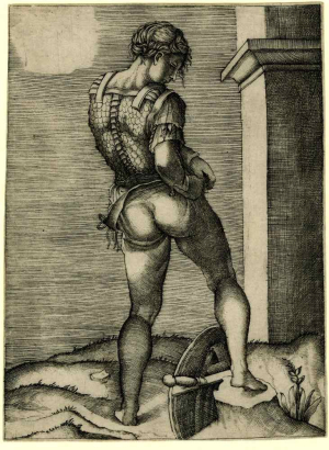 Veneziano-Agostino-after-Michelangelo-Battle-of-Cascina-Warrior-tying-trousers-c1510-20-engraving-British-Museum