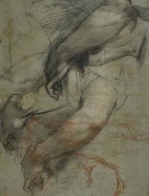Barocci-Federico-Studies-of-arm-and-leg-for-painting-1550s-drawing-British-Museum-c