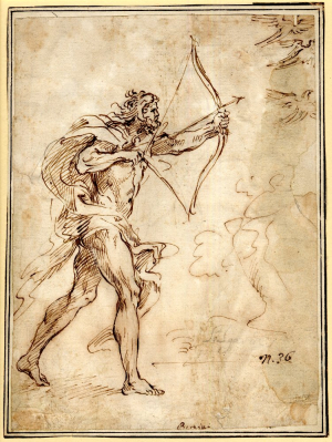 Algardi-Alessandro-Hercules-shooting-at-the-Stymphalian-birds-design-for-relief-before-1654-drawing-British-Museum
