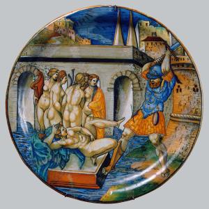 Xanto-Avelli-Francesco-Chastisement-of-Lascivious-Rome-by-Charles-V-1534-majolica-plate-Hermitage-Urbino--square