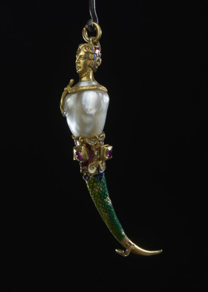 Anonymous-orfevrerie-Italy-Pendant-Mermaid-toothpick-c1575-enameled-gold-ruby-pearl-British-Museum