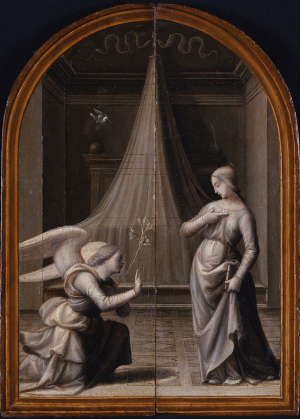 Albertinelli-Mariotto-Annunciation-outer-panels-of-Triptych-c1500-oil-on-panel-Museo-Poldi-Pezzoli-Milan-grisaille