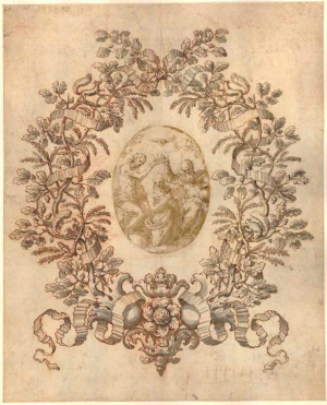 Schor-Johann-Paul-Border-with-Chigi-oak-leaves-before-1674-around-wash-drawing-by-Palma-Giovane-Coronation-of-Virgin-before-1628-drawing-British-Museum