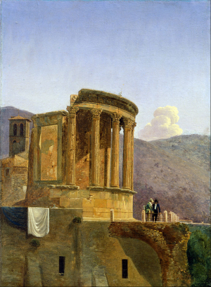 Boisselier-Félix-Temple-of-Vesta-at-Tivoli-c1806-16-oil-on-paper-mounted-on-canvas-Cantor-Arts-Center-Stanford-University