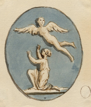 Townley-Charles-collector-Glass-paste-intaglio-with-Icarus-and-Daedalus-c1768-1805-wash-drawing-British-Museum-c