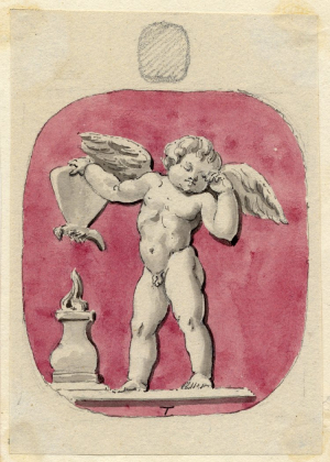 Townley-Charles-collector-Intaglio-with-Cupid-holding-butterfly-over-altar-flame-c1768-1805-wash-drawing-watercolor-British-Museum