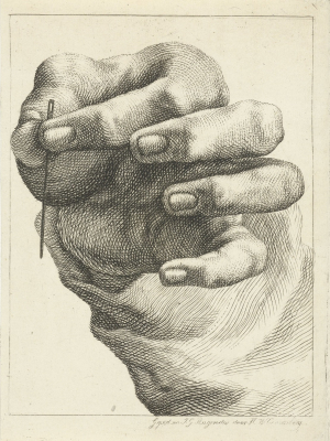 Couwenberg-Henricus-Wilhelmus-after-Jacob-Gottlob-Rugendas-Study-of-a-hand-holding-a-needle-c1830-45-engraving-Rijksmuseum