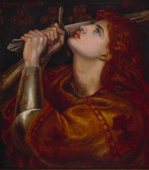 Rossetti-Dante-Gabriel-Joan-of-Arc-1882-oil-on-panel-(Rossetti's-final-painting)-Fitzwilliam-Museum-Cambridge