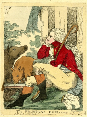 Fores-S-W-(publisher)-The-Prodigal-son-(caricature-of-the-Prince-of-Wales-among-pigs)-1787-hand-colored-etching-British-Museum