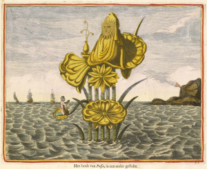 Kircher-Athanasius-illustration-from-Dutch-edition-of-China-Monumentis-1668-hand-colored-engraving-Getty