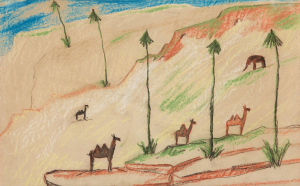 Hill-Carl-Fredrik-Landscape-with-Exotic-Animals-before-1911-crayon-drawing-private-collection
