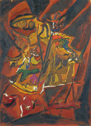 Wilde-Gerald-Red-Composition-1952-oil-paint-on-paper-mounted-on-cardboard-Tate